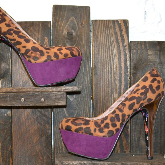 Betsey Johnson Shoes - Betseyville Leopard and Purple  heels Size 6.5